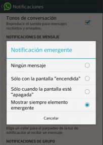 notificación elemento emergente
